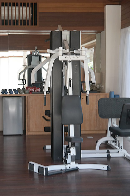 Fully-equpped gym at our beachside resort on Nusa Lembongan