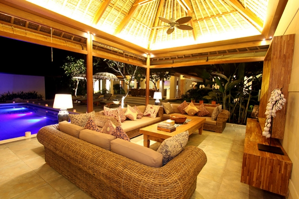The living pavilion is a great place to enjoy the bali nights