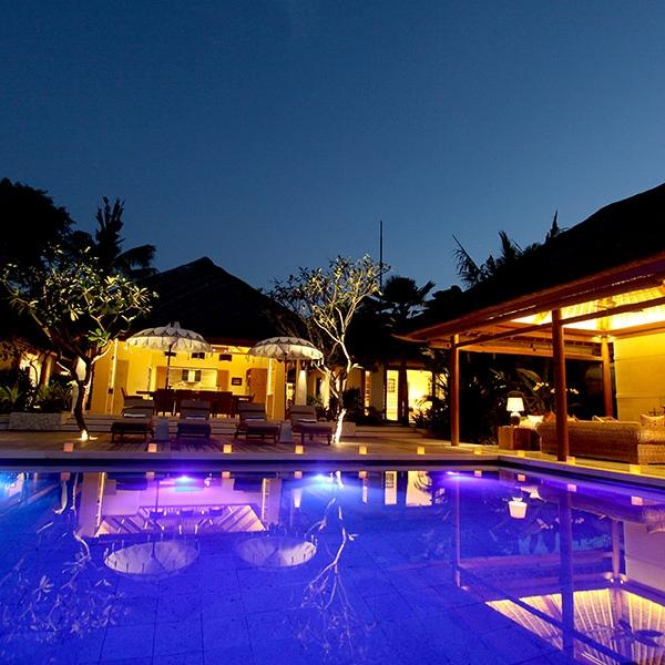 The lighting at night really adds to the mood at Villa Pantai