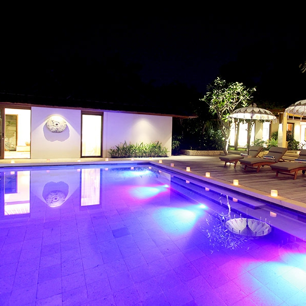 The in-pool LED lighting makes the pool look amazing at night